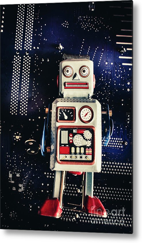 Robot Metal Print featuring the photograph Tin Toy Robots by Jorgo Photography - Wall Art Gallery