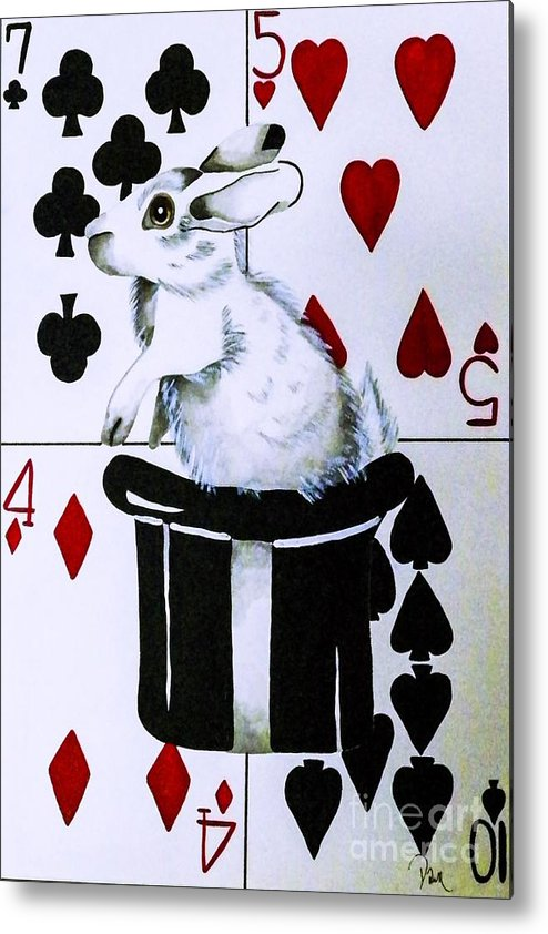 Top Hat. Rabbit. Playing Cards. Magic. Animal. Unique Design. Fine Art. Children's Party. Metal Print featuring the painting Tools Of Illusion by Dawn Siegler