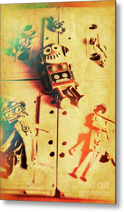 Retro Metal Print featuring the photograph Toy Robots On Vintage Cassettes by Jorgo Photography - Wall Art Gallery