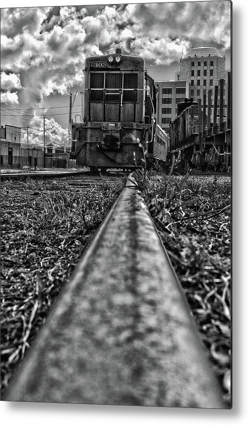 Galveston Railroad Museum Metal Print featuring the photograph Train Coming by James Woody