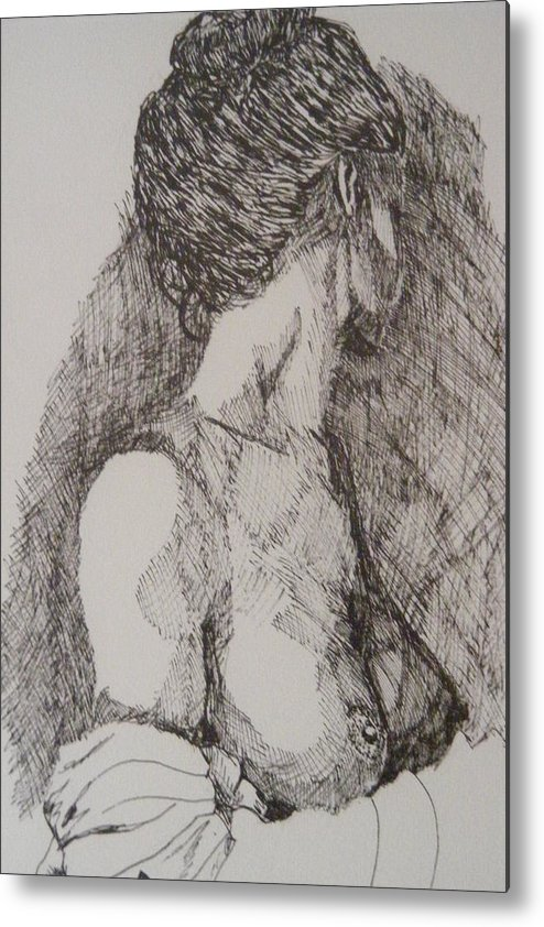 Female Form Metal Print featuring the drawing Tranquility by Donald Dean