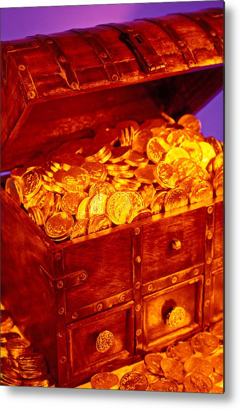 Treasure Chest Gold Coins Pirates Metal Print featuring the photograph Treasure Chest With Gold Coins by Garry Gay
