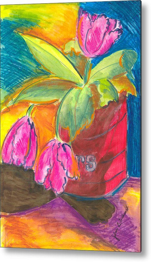 Flowers Metal Print featuring the painting Tulips In Can by Jean Blackmer