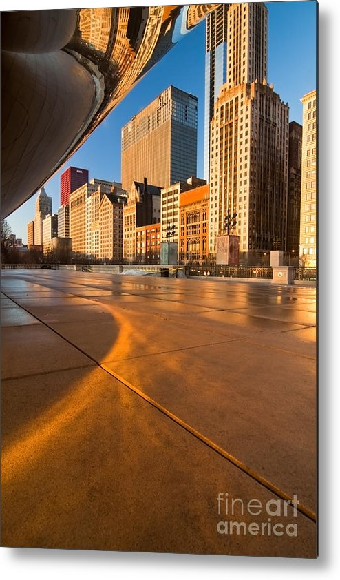 Chicago Metal Print featuring the photograph Under The Bean And Chicago Skyline At Sunrise by Sven Brogren