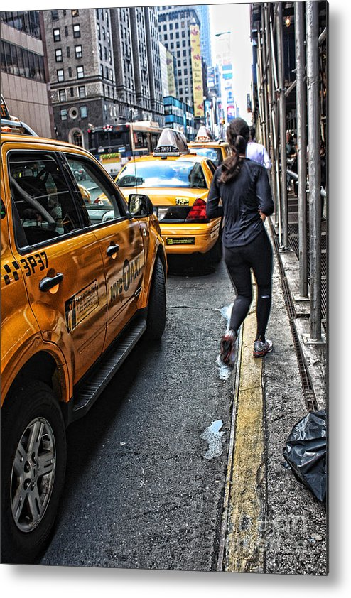 New York City Jogger Downtown Sports Running Metal Print featuring the photograph Urban Jogger by Desmond Bell