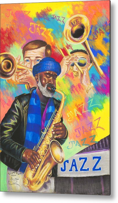 Jazz Metal Print featuring the painting Utopia Jazz by Sandra Pryer