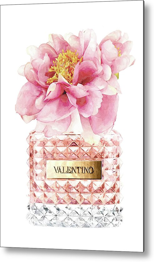 Valentino Metal Print featuring the mixed media Valentino Pink With Peony by Del Art