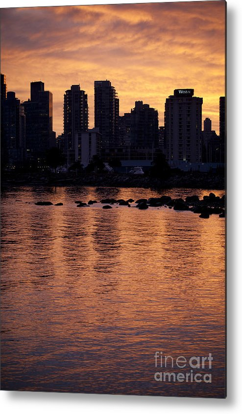 Sunset Metal Print featuring the photograph Vancouver From Stanley Park I by Chris Dutton