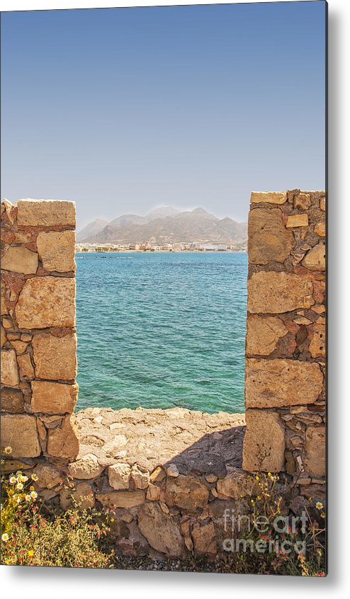 Lerapetra Metal Print featuring the photograph Veiw Of Lerapetra From Kales Fort Portrait Composition by Antony McAulay