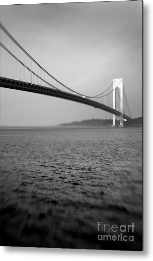 Black & White Metal Print featuring the photograph Verrazano Bridge 1 by Tony Cordoza
