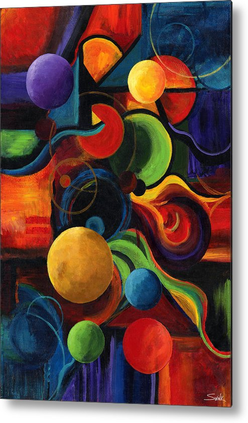 Synergy Metal Print featuring the painting Vertical Synergy by Laura Swink
