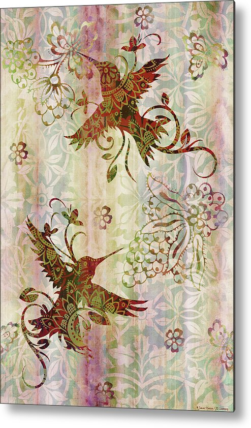 Flowers Metal Print featuring the painting Victorian Humming Bird Pink by JQ Licensing