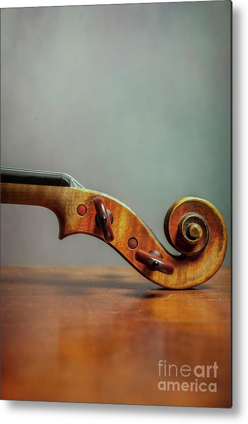 Violin Metal Print featuring the photograph Violin Scroll by Benjamin Harte