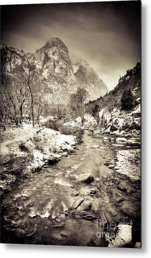 Clouds Metal Print featuring the photograph Virgin River Running Iv by Irene Abdou