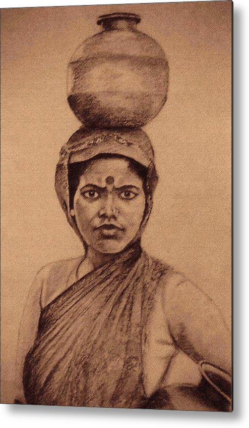 Village Girl Portrait.indian Woman Metal Print featuring the drawing Water Carrier by Claudio Fiori