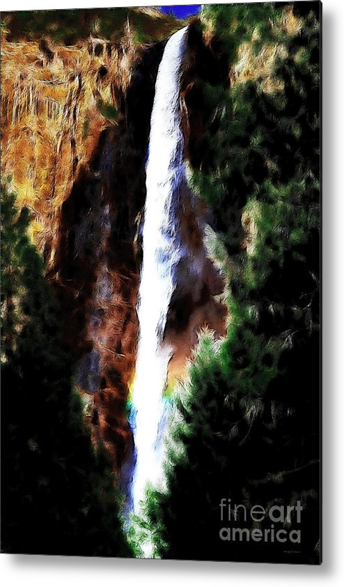 Landscape Metal Print featuring the photograph Waterfall At Yosemite by Wingsdomain Art and Photography