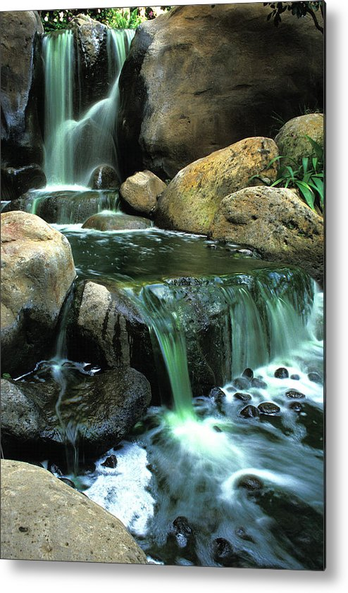 Water Metal Print featuring the photograph Waterfall On Maui by Carl Purcell