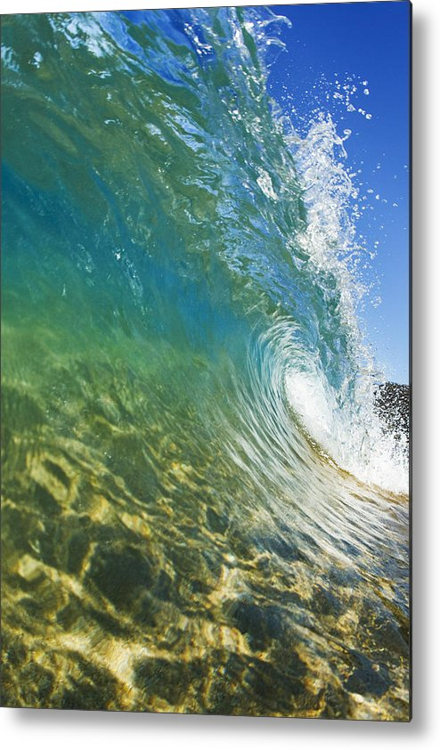 Aqua Metal Print featuring the photograph Wave - Makena by MakenaStockMedia