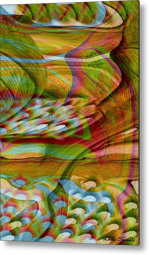 Abstracts Metal Print featuring the digital art Waves And Patterns by Linda Sannuti