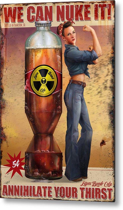 Atom Bomb Cola Series Metal Print featuring the digital art We Can Nuke It by Steve Goad