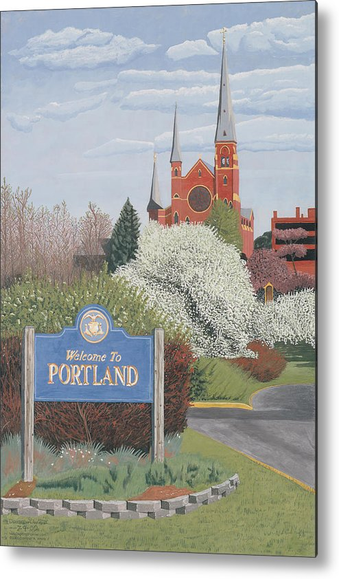 Church Metal Print featuring the painting Welcome To Portland by Dominic White