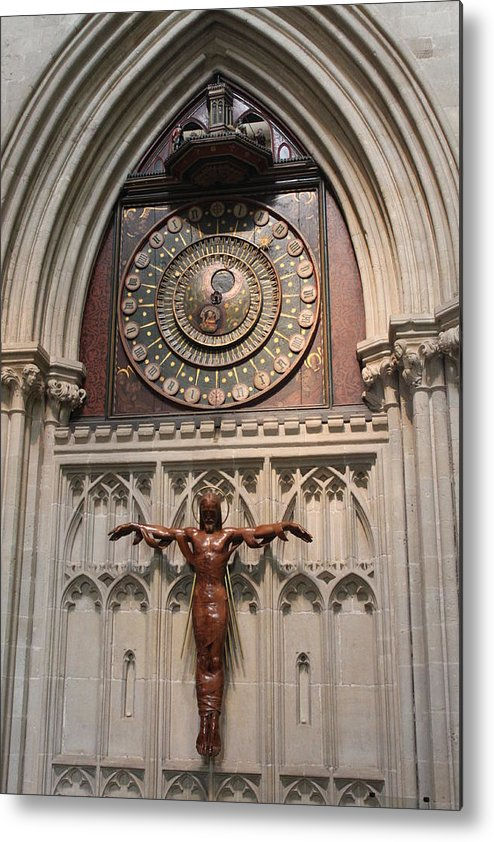 Clock Metal Print featuring the photograph Wells Cathedral Geocentric Clock by Lauri Novak