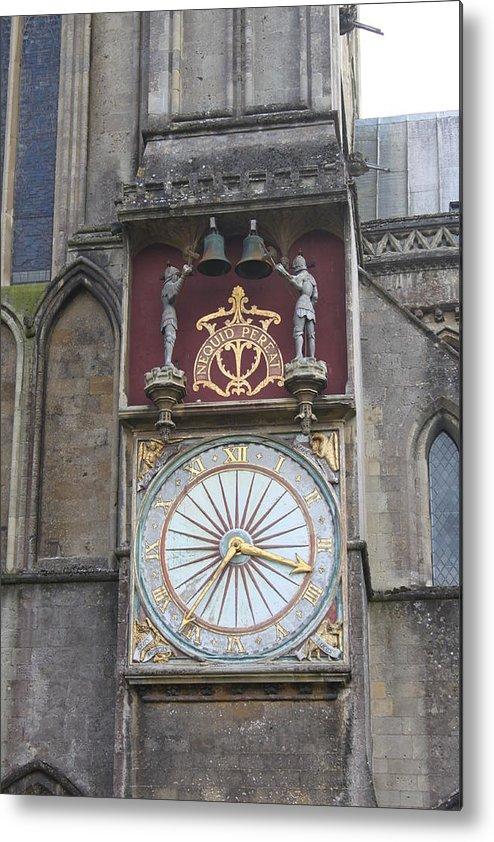 Wells Metal Print featuring the photograph Wells Cathedral Outside Clock by Lauri Novak