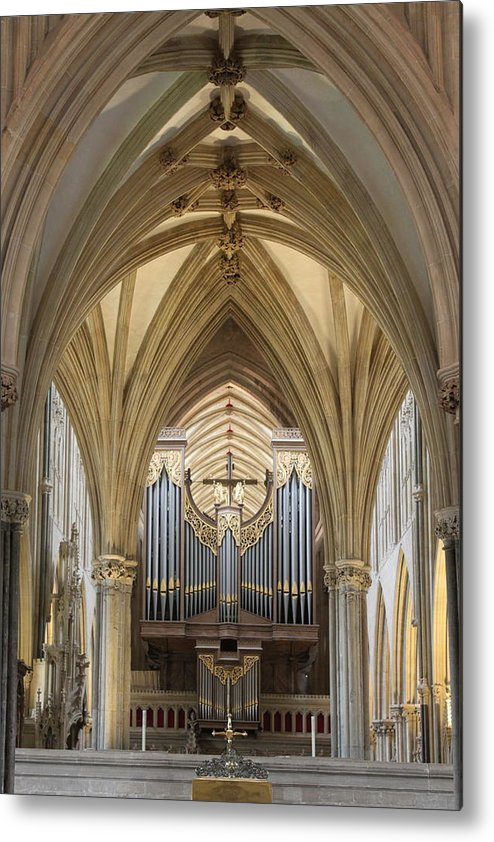 Wells Cathedral Metal Print featuring the photograph Wells Cathedral Pipe Organ by Lauri Novak