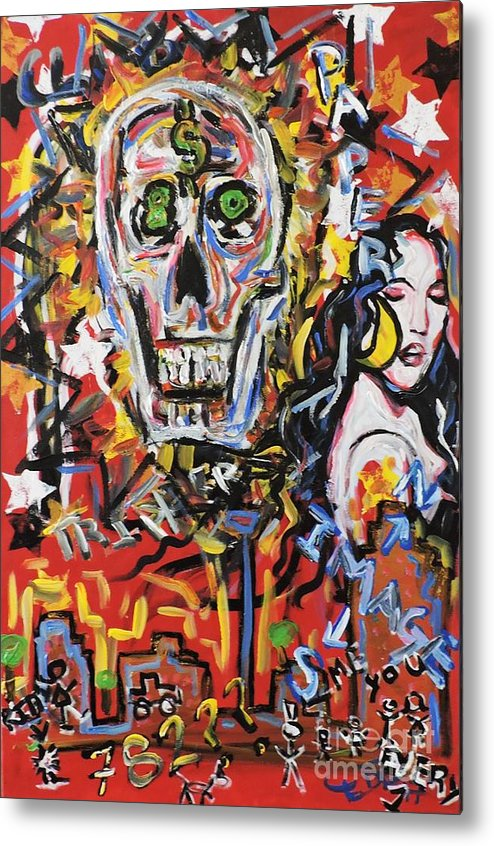 Skull Metal Print featuring the painting What A Wonderful Nightlife by Pedro Flores