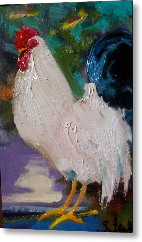 Painting Metal Print featuring the painting White Rooster by Susan Jenkins
