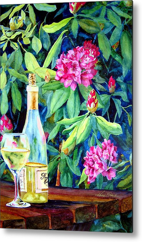 Rhododendron Metal Print featuring the painting Wine And Rhodies by Karen Stark