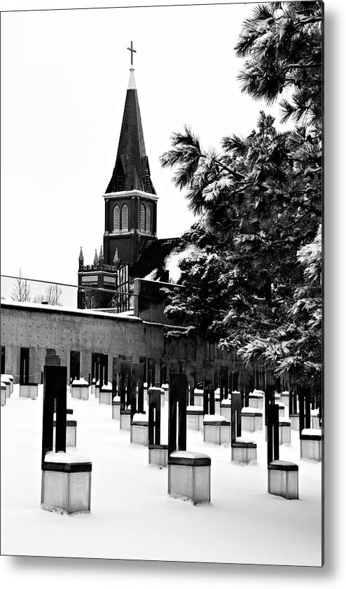black And White Metal Print featuring the photograph Winter Chairs by Lana Trussell