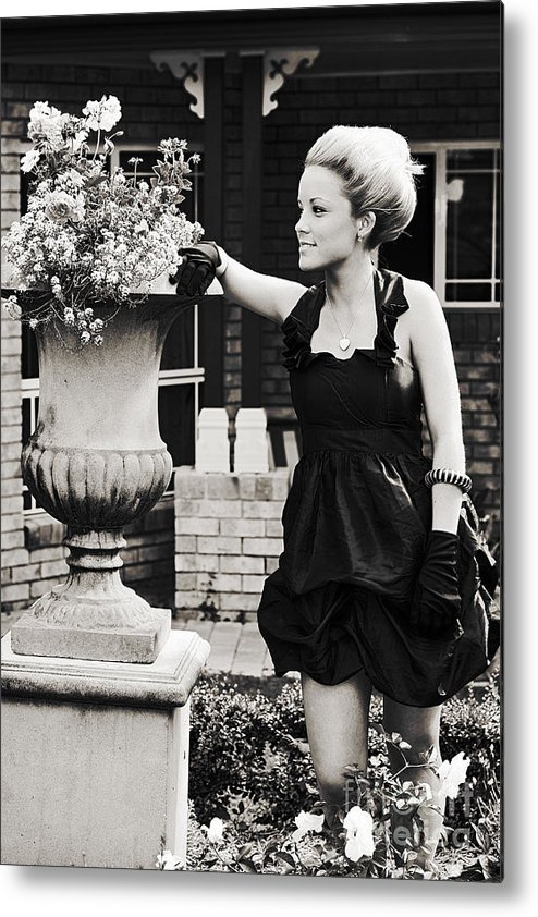 20s Metal Print featuring the photograph Woman Relaxing In Garden by Jorgo Photography - Wall Art Gallery