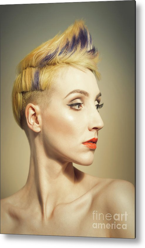 Make Up Metal Print featuring the photograph Woman With An Edgy Hairstyle by Amanda Elwell