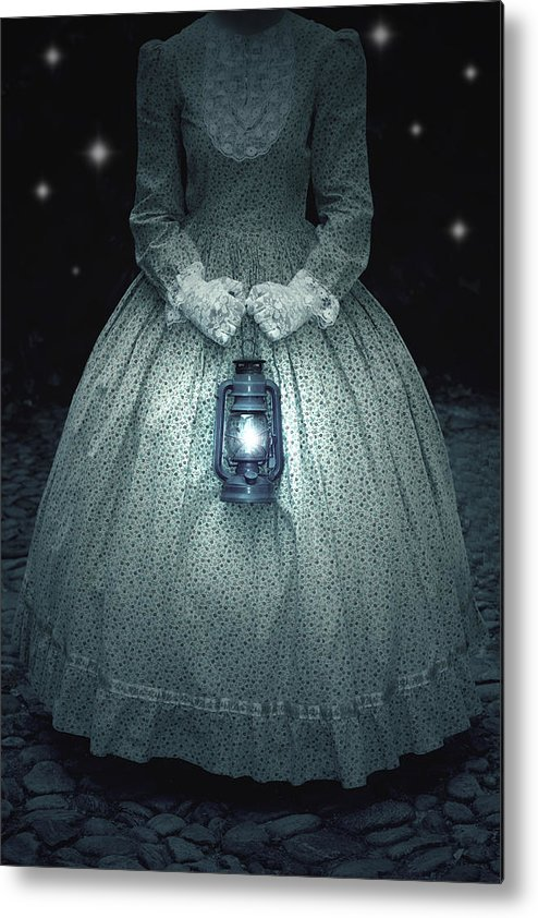 Female Metal Print featuring the photograph Woman With Lantern by Joana Kruse