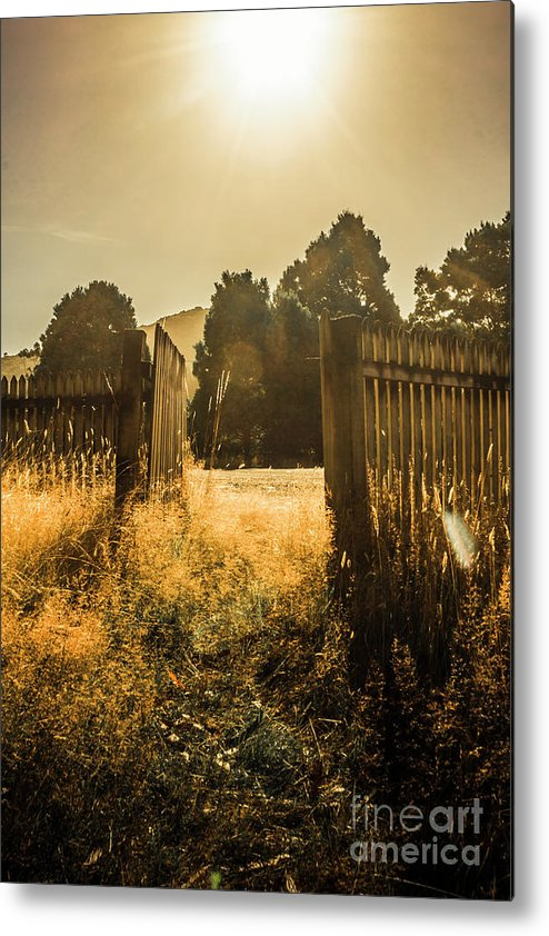 Shabby Metal Print featuring the photograph Wooden Fence With An Open Gate by Jorgo Photography - Wall Art Gallery