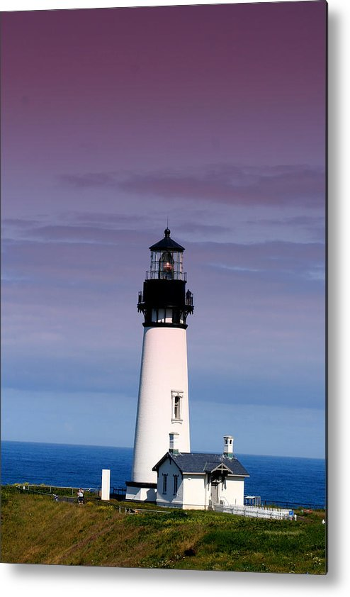 Lighthouse Metal Print featuring the photograph Yakuina Head Lighthouse Li201 by Mary Gaines