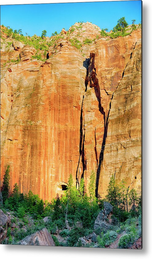 Landscape Metal Print featuring the photograph Zion Rock Wall by Christopher Bogard