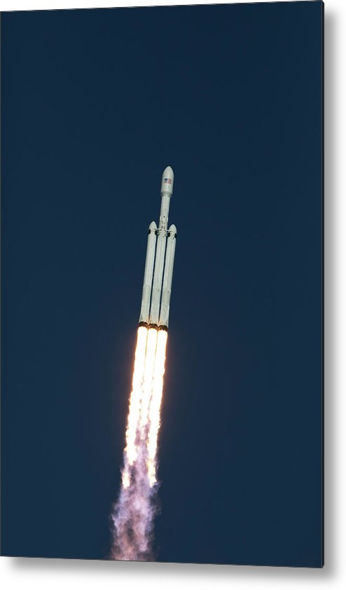 Dont Panic Metal Print featuring the photograph Spacex Falcon Heavy Demo Flight - Liftoff by Filip Hellman