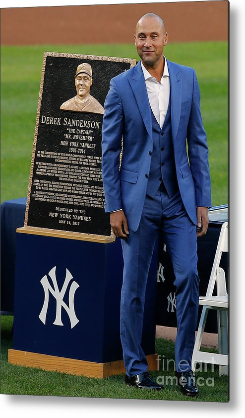 People Metal Print featuring the photograph Derek Jeter Ceremony 4 by Rich Schultz