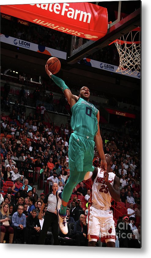 Nba Pro Basketball Metal Print featuring the photograph Charlotte Hornets V Miami Heat by Issac Baldizon