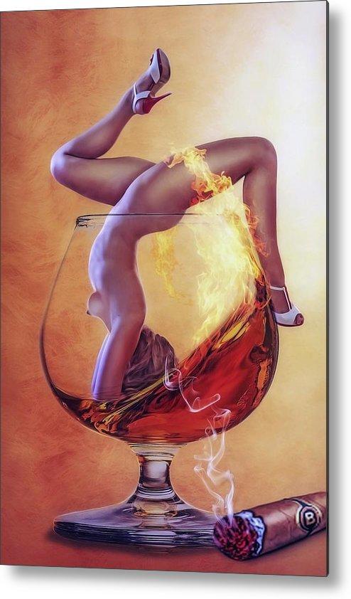 Whiskey Metal Print featuring the painting Brandy Girl by ArtMarketJapan