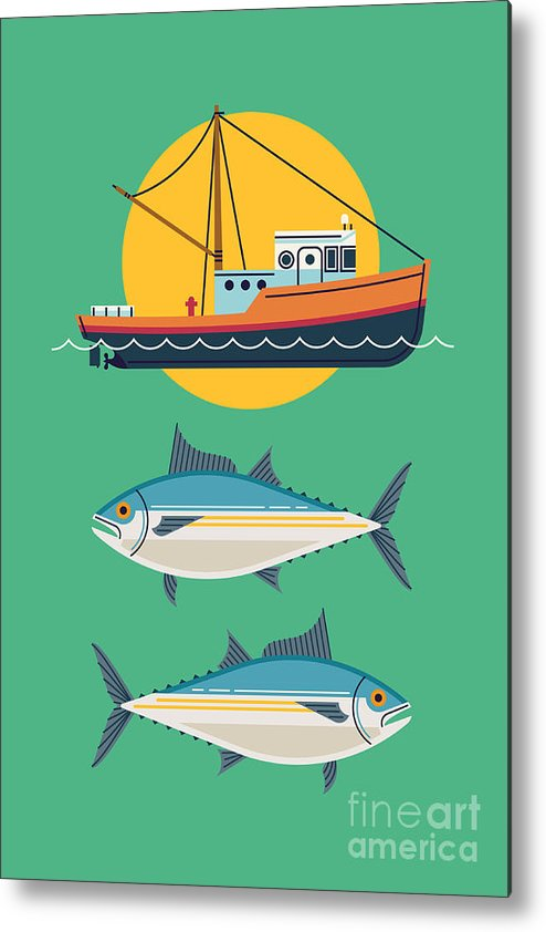 Symbol Metal Print featuring the digital art Commercial Fishery Concept Layout. Tuna by Mascha Tace