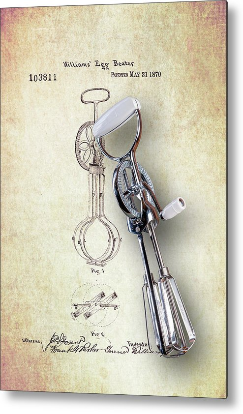 Eggbeater Metal Print featuring the photograph Eggbeater With Antique Eggbeater Patent by Tom Mc Nemar