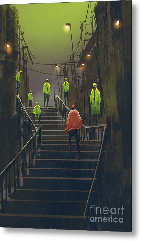 Color Metal Print featuring the digital art Encounter Between Red Man And Crowd Of by Tithi Luadthong
