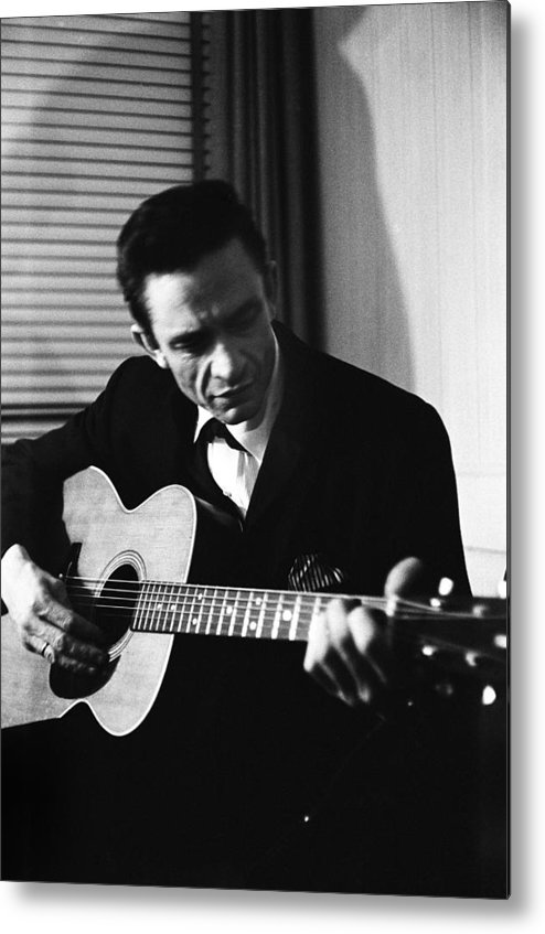 Singer Metal Print featuring the photograph Johnny Cash At The New York Folk by Michael Ochs Archives