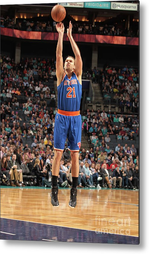 Nba Pro Basketball Metal Print featuring the photograph New York Knicks V Charlotte Hornets by Brock Williams-smith