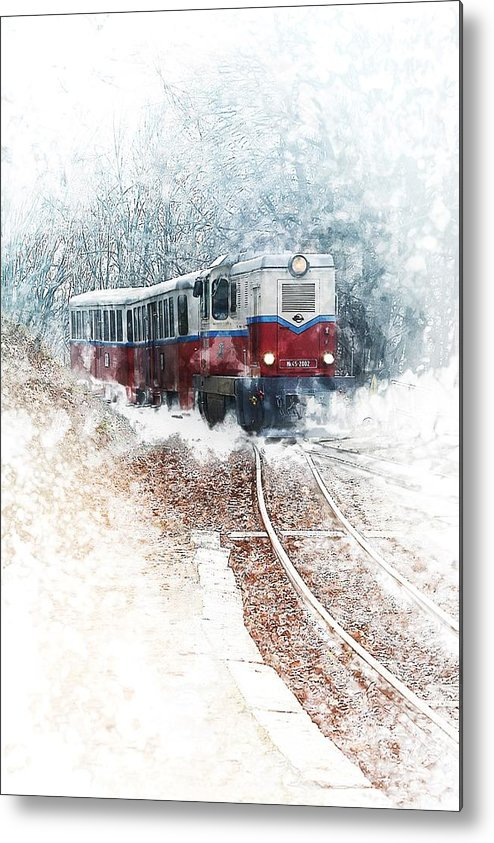 Train Metal Print featuring the painting Northern European Train by ArtMarketJapan
