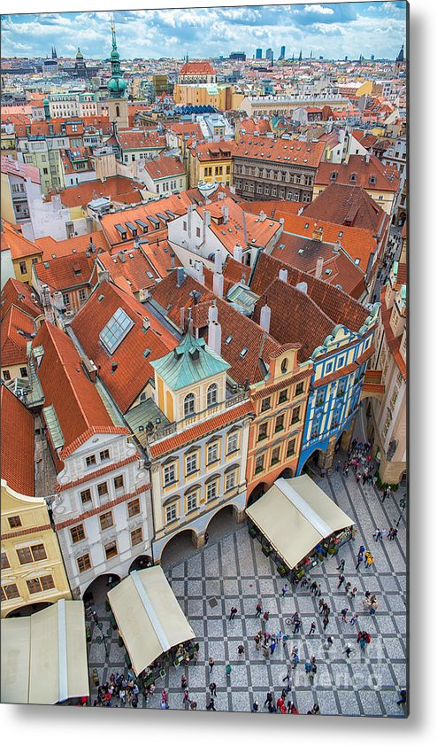 Crowd Metal Print featuring the photograph View Over The Rooftops Of The Old Town by Badahos