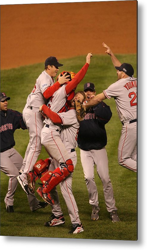 Celebration Metal Print featuring the photograph World Series Boston Red Sox V Colorado by Ron Vesely